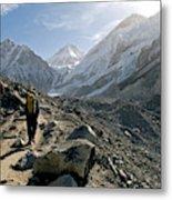 Nepal A Trekker On The Everest Base Metal Print