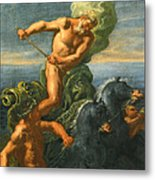 Neptune And His Chariot Of Horses Metal Print