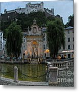 Neptune Fountain In Salzburg Austria Metal Print