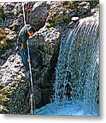 Net Fishing In Bulkley River In Moricetown-british Columbia-canada Metal Print