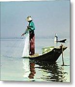 Net Fishing On Inle Lake Metal Print