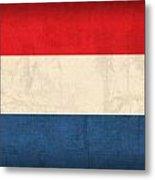 Netherlands Flag Vintage Distressed Finish Metal Print by Design Turnpike