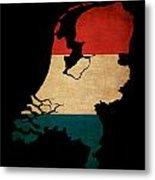 Netherlands Grunge Map Outline With Flag Metal Print