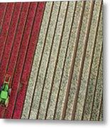 Netherlands, Tractor In Tulip Fields Metal Print