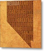 Nevada Word Art State Map On Canvas Metal Print