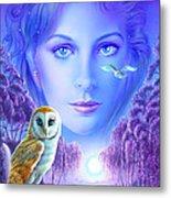 New Age Owl Girl Metal Print