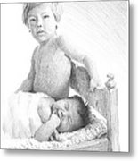 New Baby And Brother Pencil Portrait Metal Print