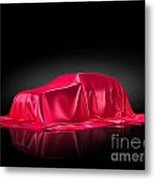 New Car Model Under Red Covering Metal Print