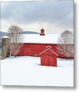 New England Barns Square Metal Print