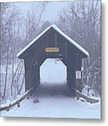 New England Covered Bridge In Winter Metal Print
