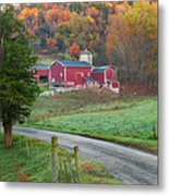 New England Farm Square Metal Print