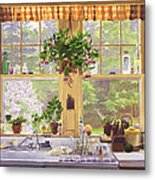 New England Kitchen Window Metal Print