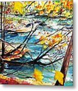 New England Leaves Along The River Metal Print