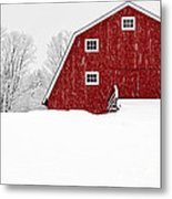 New England Red Barn In Winter Snow Storm Metal Print