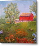 New England Red Barn Summer Metal Print