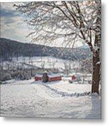 New England Winter Farms Morning Square Metal Print