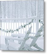 New England Winter Porch Metal Print