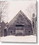 New Hampshire Barn In Black And White Metal Print