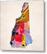 New Hampshire Map Art - Painted Map Of New Hampshire Metal Print