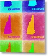 New Hampshire Pop Art Map 2 Metal Print