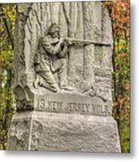 New Jersey At Gettysburg - 13th Nj Volunteer Infantry Near Culps Hill Autumn Metal Print by Michael Mazaika
