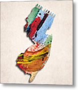 New Jersey Map Art - Painted Map Of New Jersey Metal Print