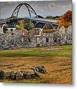 New Lake Champlain Bridge Over Fort Crown Point Panorama Metal Print