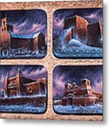 New Mexico Churches In Snow Metal Print