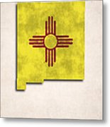 New Mexico Map Art With Flag Design Metal Print by World Art Prints And Designs