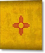 New Mexico State Flag Art On Worn Canvas Metal Print