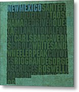 New Mexico Word Art State Map On Canvas Metal Print