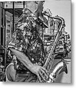 New Orleans Jazz Sax Bw Metal Print