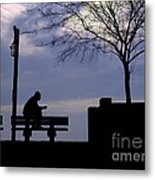New Orleans Riverwalk Silhouette Metal Print