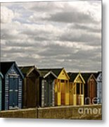 Colourful Wooden English Seaside Beach Huts Metal Print