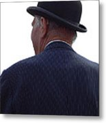 New Photographic Art Print For Sale   Iconic London Man In Bowler Hat Metal Print
