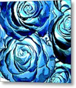 Pop Art Blue Roses Metal Print