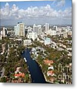 New River And Downtown Fort Lauderdale Metal Print