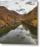 New River Fall Reflections Metal Print