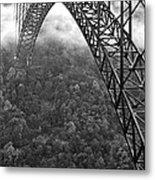 New River Gorge Bridge Black And White Metal Print
