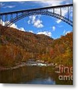 New River Gorge Fiery Fall Colors Metal Print