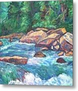 New River Fast Water Metal Print