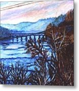 New River Trestle In Fall Metal Print