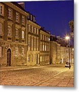 New Town Street And Houses At Night In Warsaw Metal Print