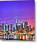 New York At Night Metal Print