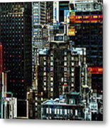 New York At Night - Skyscrapers And Office Windows Metal Print