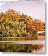 New York City - Autumn - Central Park - Lake And Bow Bridge Metal Print