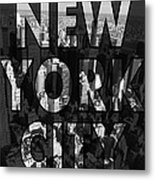 New York City - Black Metal Print