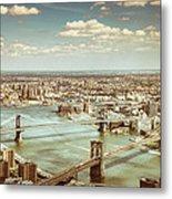 New York City - Brooklyn Bridge And Manhattan Bridge From Above Metal Print