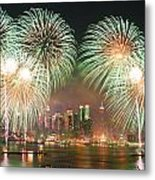 New York City Fireworks Metal Print by Songquan Deng
