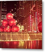 New York City Holiday Decorations Metal Print